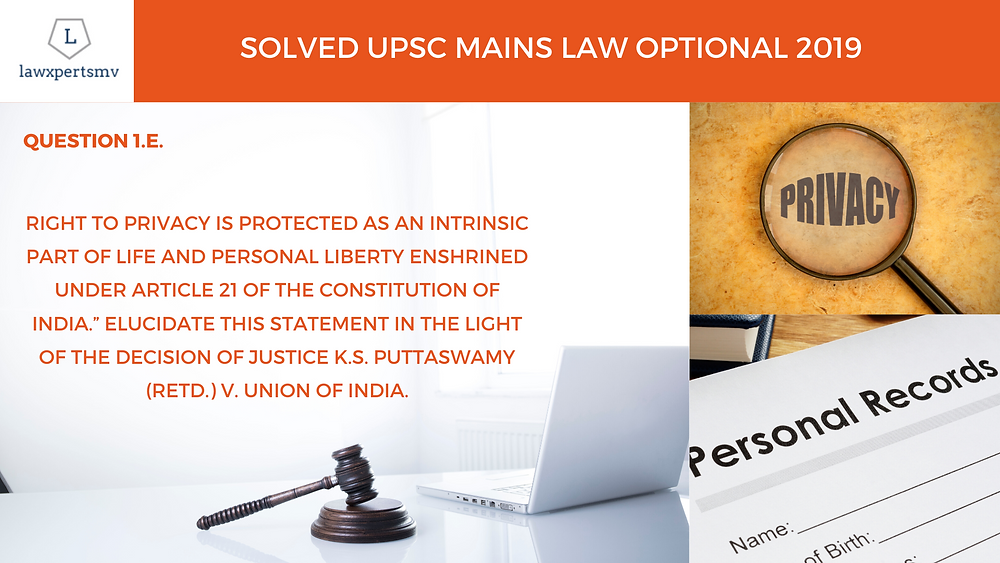 Right to privacy under Puttaswamy Judgment for UPSC Mains Law Optional