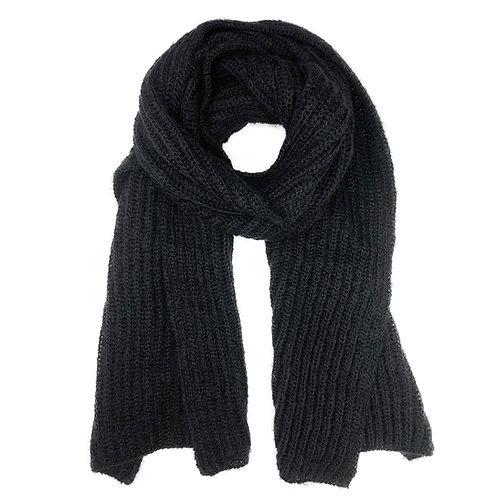 Chunky Black Knit Alpaca Scarf