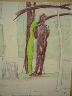 BENARD Femme se mirant dans un arbre.2010.crayon.30x40.JPG