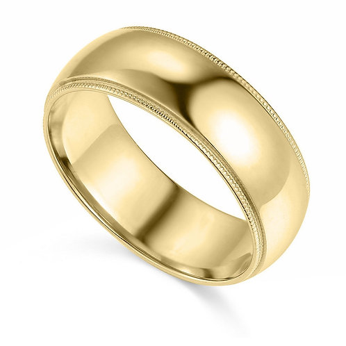 14k Yellow Gold 7-mm Comfort-fit Milgrain and polished Wedding Band