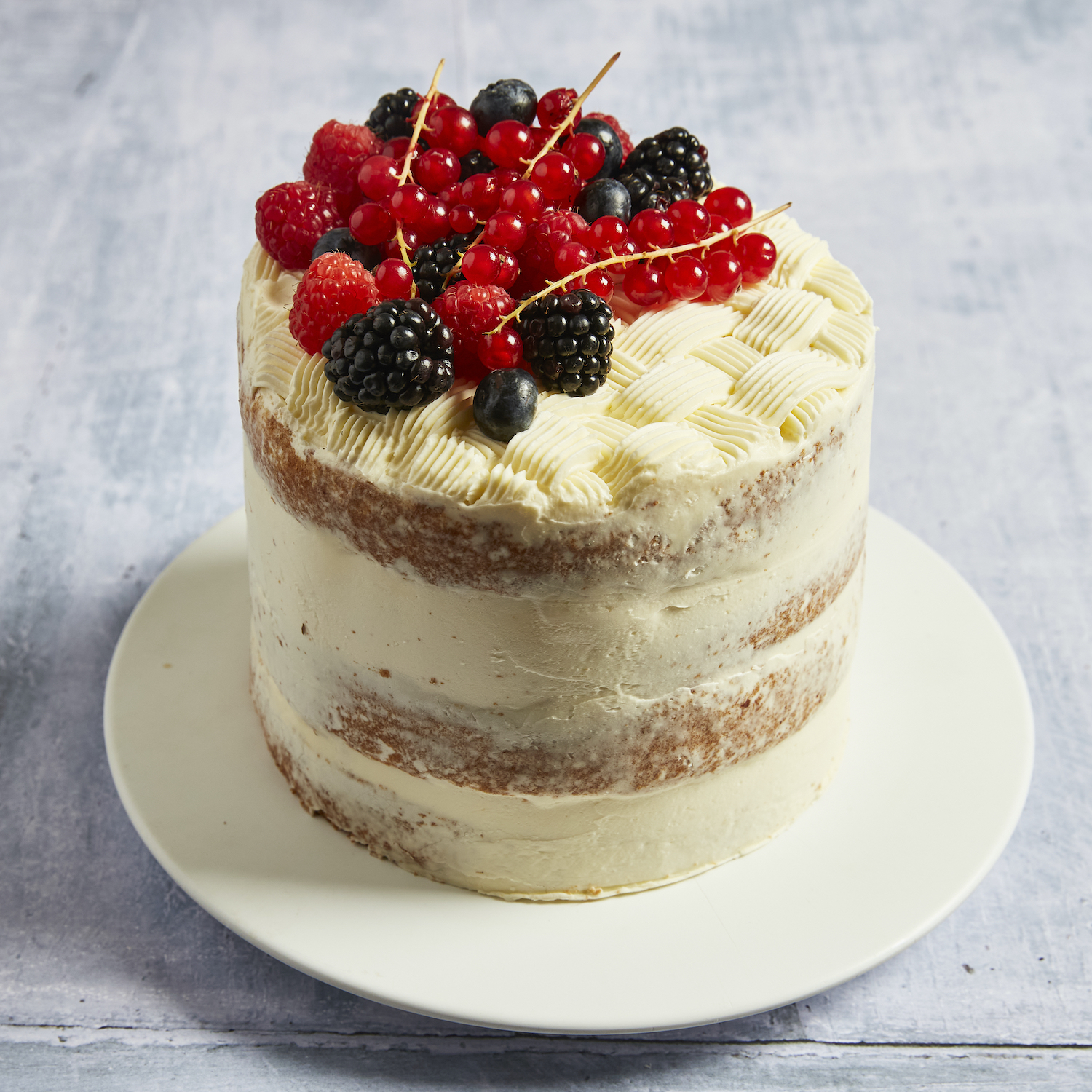 Semi-Naked Birthday Cake with Berries