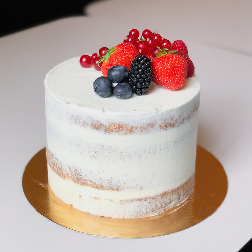 Naked Birthday Cake with Berries