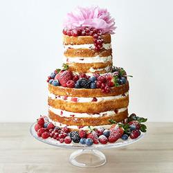 Naked Cake Hochzeitstorte mit Beeren & Blumen
