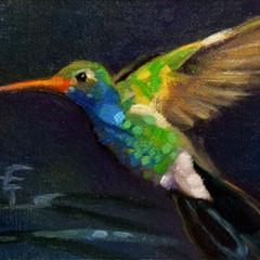 Hummingbird at Dusk, 5x7, Oils on Linen