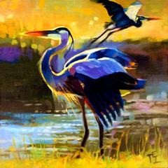 Blue Herons, 10x10, Oils on Panel