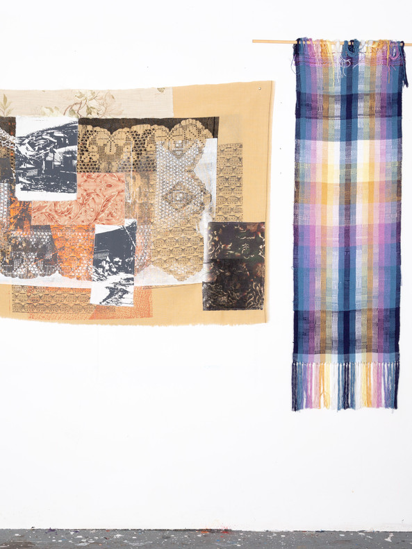 Untitled (hanging and hand woven cloth)