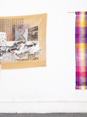 Untitled (hanging with hand woven cloth)