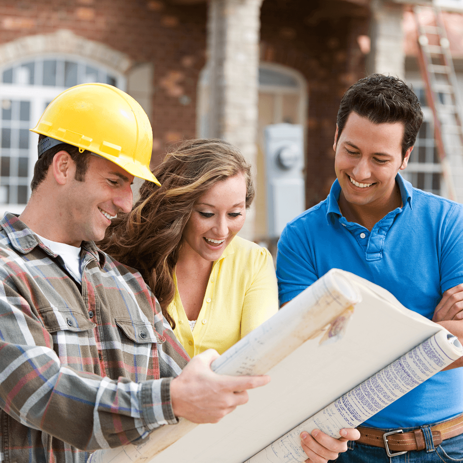 home builder talks to couple