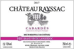 étiquette de bouteille de vin rosé d'A.O.P Cabardès 2014