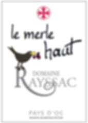 étiquette de bouteille de vin de Pays d'OC Domaine Rayssac 2014
