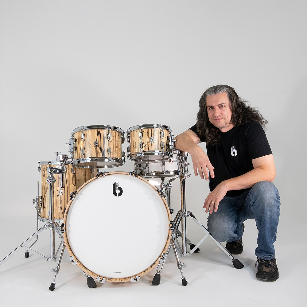 Andy Edwards Joins British Drum Co BDC Legend Drum Kit Robert Plant IQ Frost Quill
