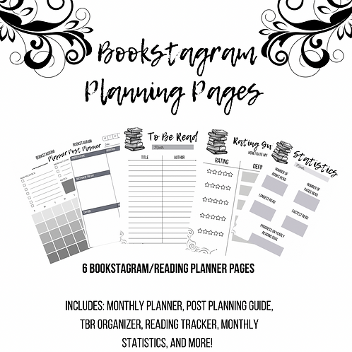 Bookstagram Planning Pages (Black & White)