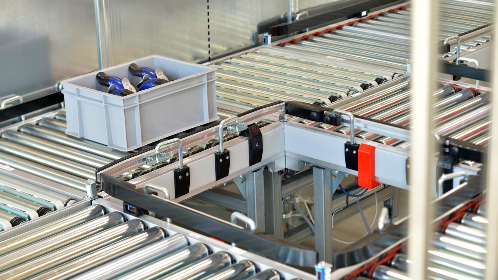 Decentrally controlled roller conveyor system - Gebhardt FlexConveyor