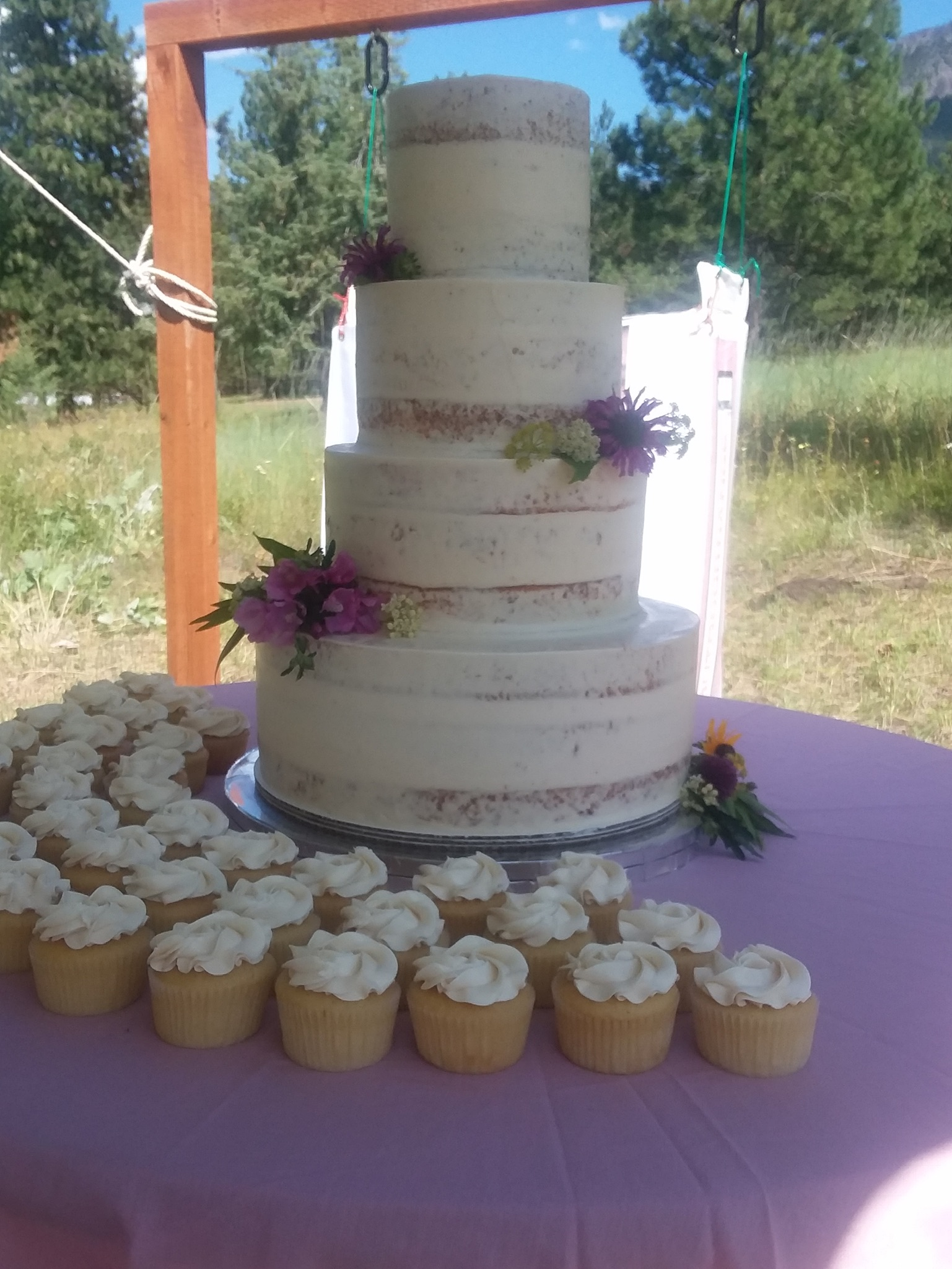 Naked 3-Tiered Wedding Cake