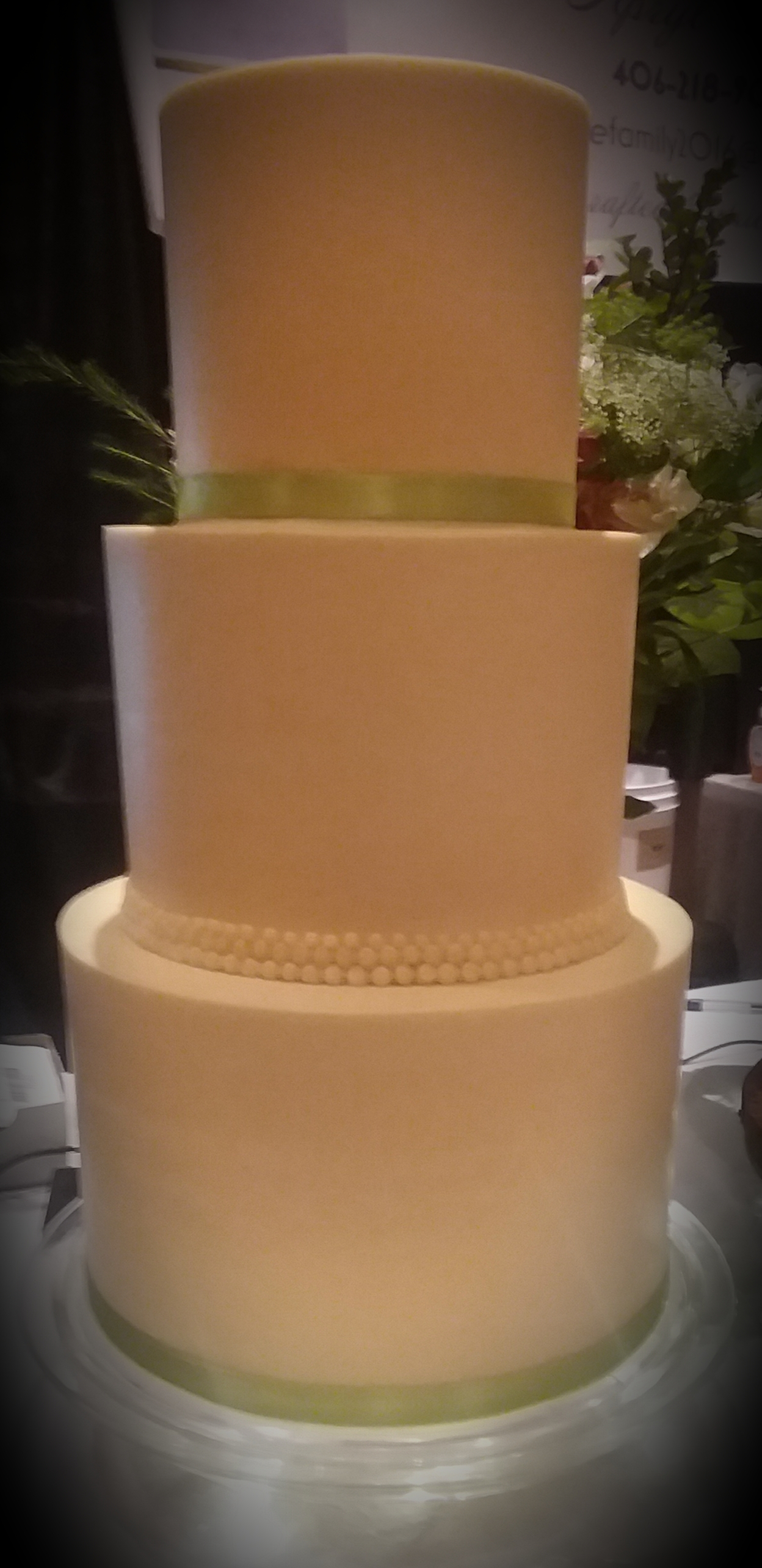 3-Tier Smooth Frost Wedding Cake with Beads and Ribbon