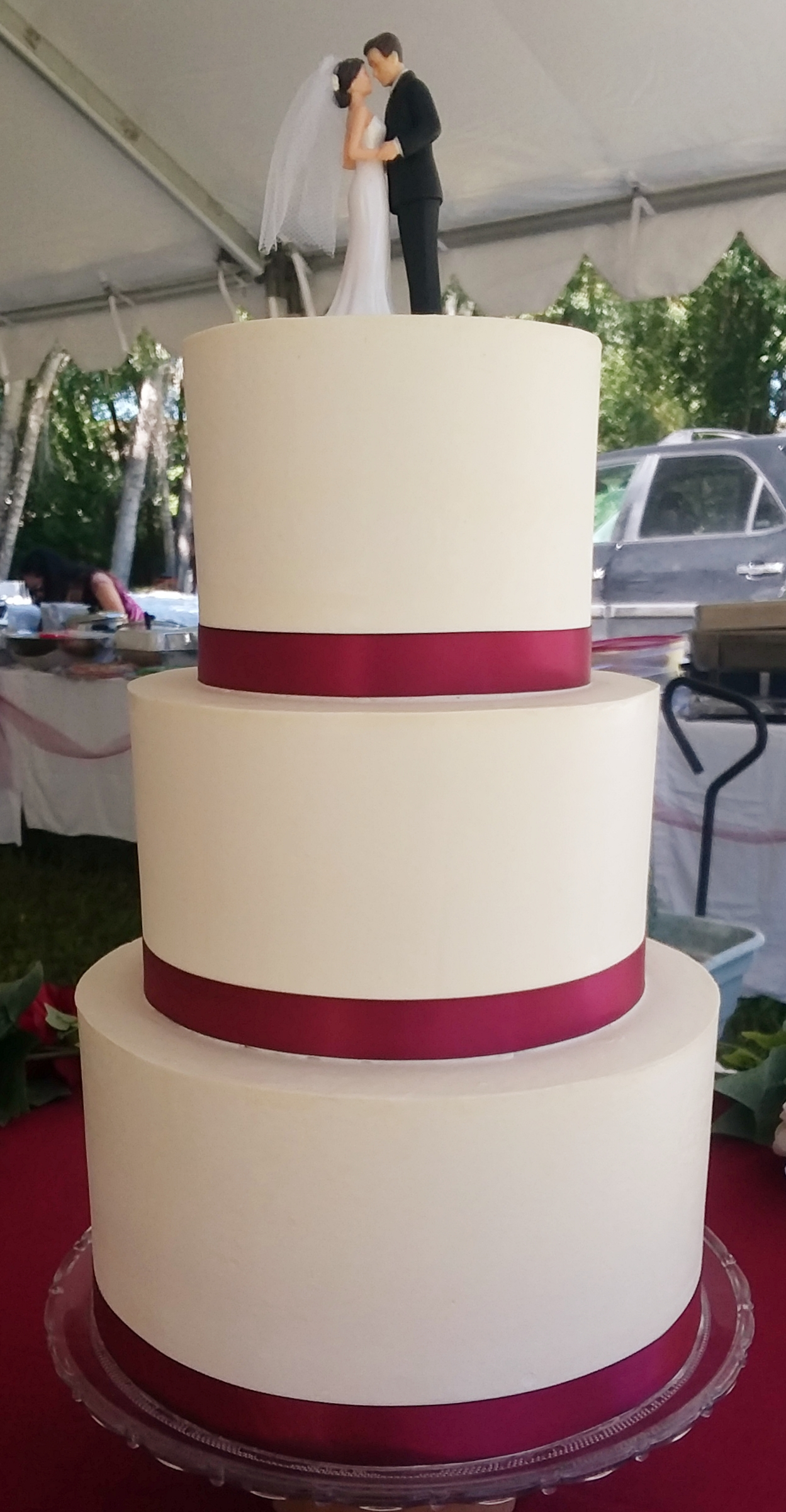 Smooth Frost 3-Tier Wedding Cake with Ribbon