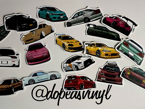 Assorted stance cars lucky dip sticker pack