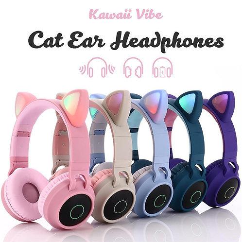 Auriculares inalámbricos con orejas de gato