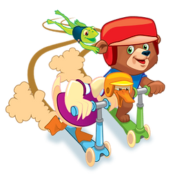 Riley the Brave on a scooter with his friends
