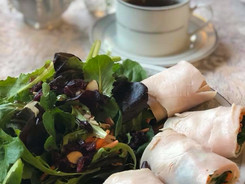 Turkey Rolls and Mixed Greens