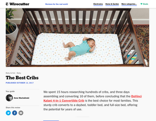 The New York Times Wirecutter: The Best Cribs (2017)