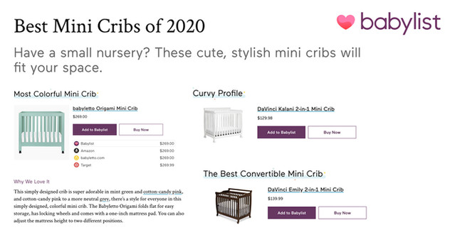 Babylist: Best Mini Cribs (2020)