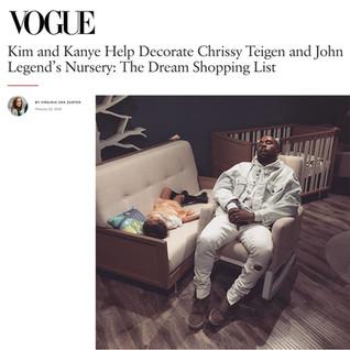 Vogue: Kim and Kanye Help Decorate Chrissy Tiegen and John Legend's Nursery (2016)