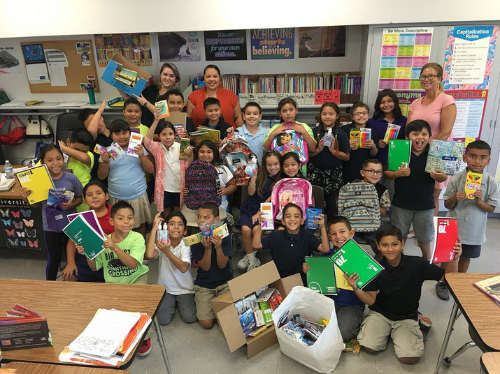 Donating supplies to a local school