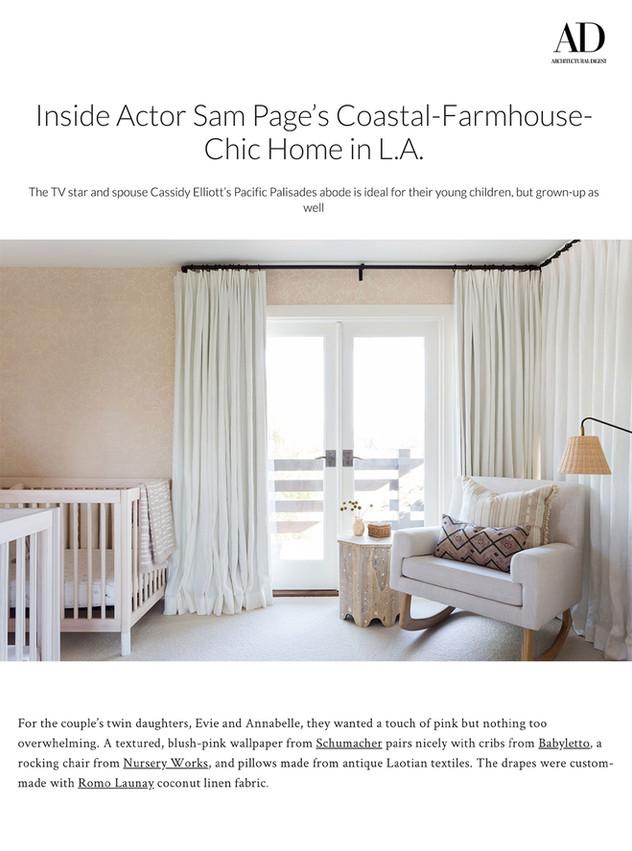 Architectural Digest: Sam Page & Cassidy Elliott's Nursery (2020)