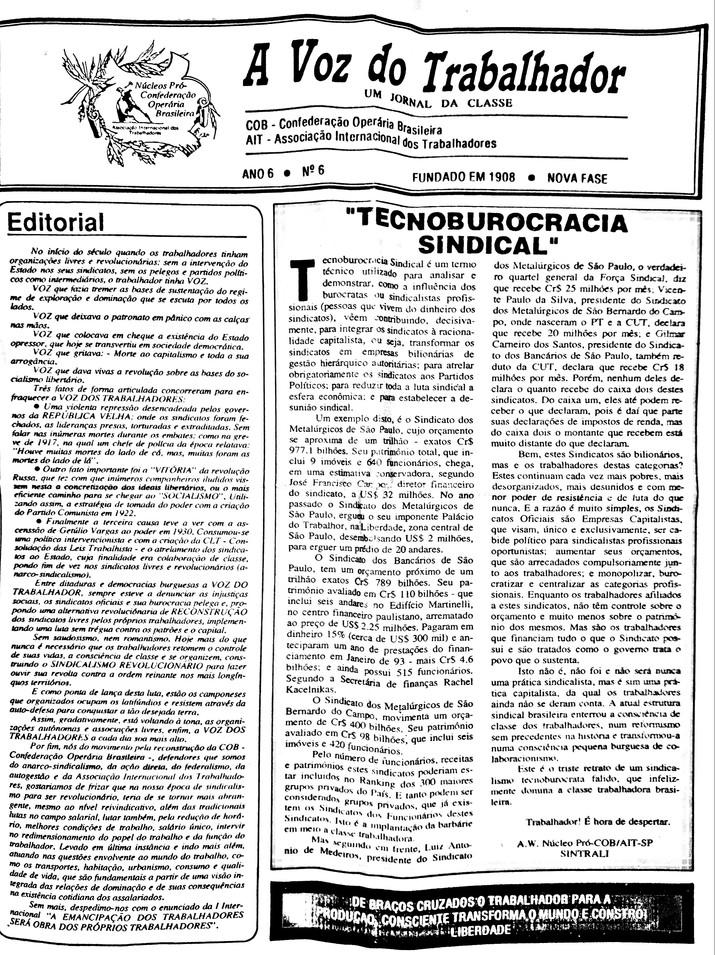 A Voz do Trabalhador ano VI - n 6 1993