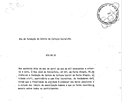 CCS-Ata de Fundação