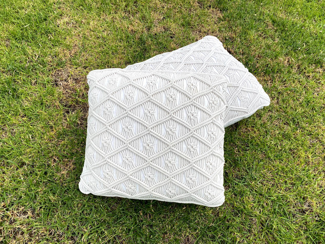 White Macrame Cushion