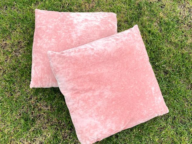 Pink Square Velvet Cushion