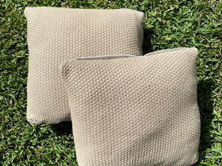 Woven Beige Cushsions
