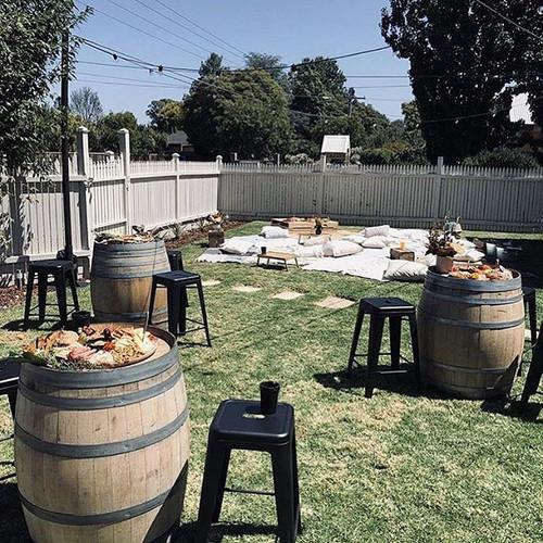 Wine Barrels, Stools & Festoon Lights