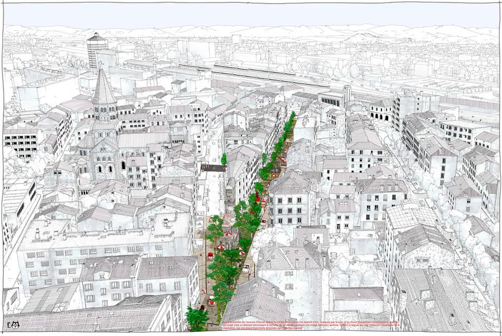 Vue aérienne du réaménagement de l'avenue