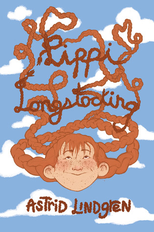 A book cover design for Pippi Longstocking, written by Astrid Lindgren.   Project timeline: about 1 week.