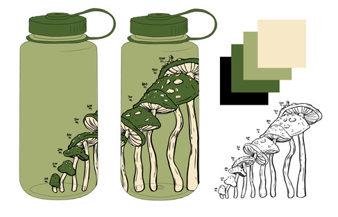 Another item in the mushroom collection, I designed this water bottle so that the heights of the mushrooms corresponded with the milliliter measurement of water.   Project timeline: 3 weeks