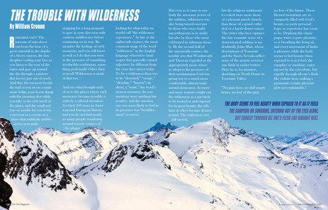 An assignment in which I had to create a magazine spread out of a short essay. I made this spread using excerpts of copy from William Cronon's essay, The Trouble with Wilderness.  Project timeline: 5 days