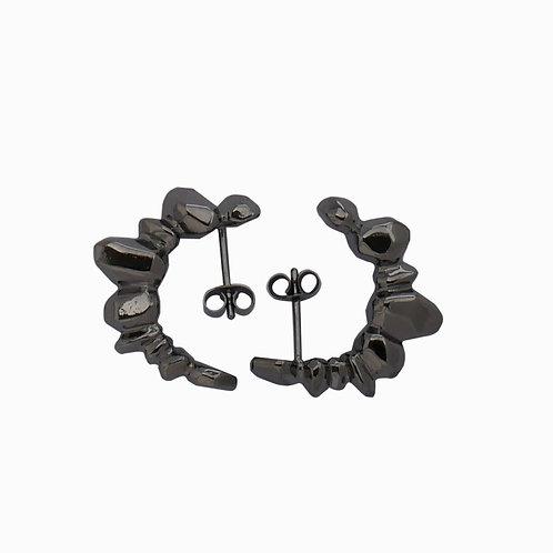 Big earrings Rhodium Noir