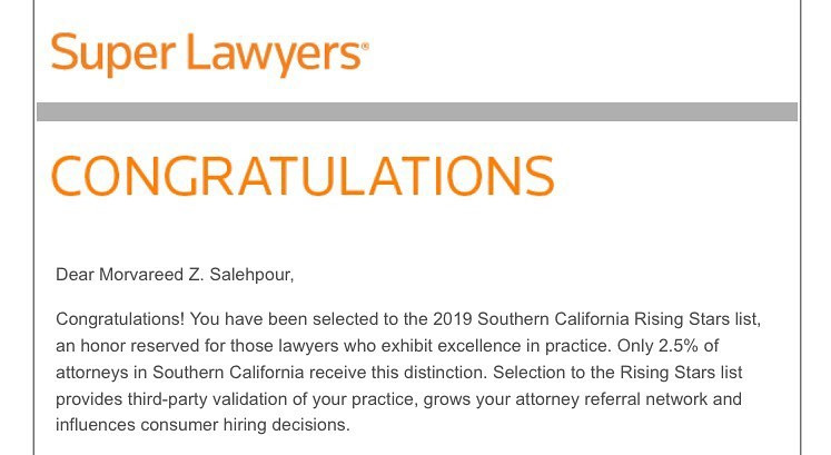 Ms. Salehpour Selected as Super Lawyers Rising Star - Top 2.5% of Lawyers in California