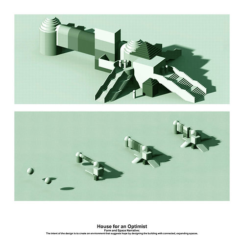 Original Architectural Art: Empathetic Architecture-A house for an optimist that suggests hope