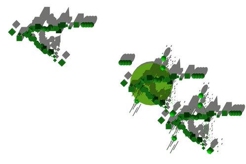 Original Architectural Art: 3D Color-Green Monochrome