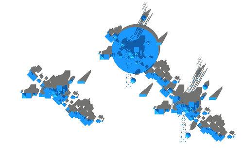 Conceptual Architecture Print-3D Color-Site Plan C-Blue Monochrome
