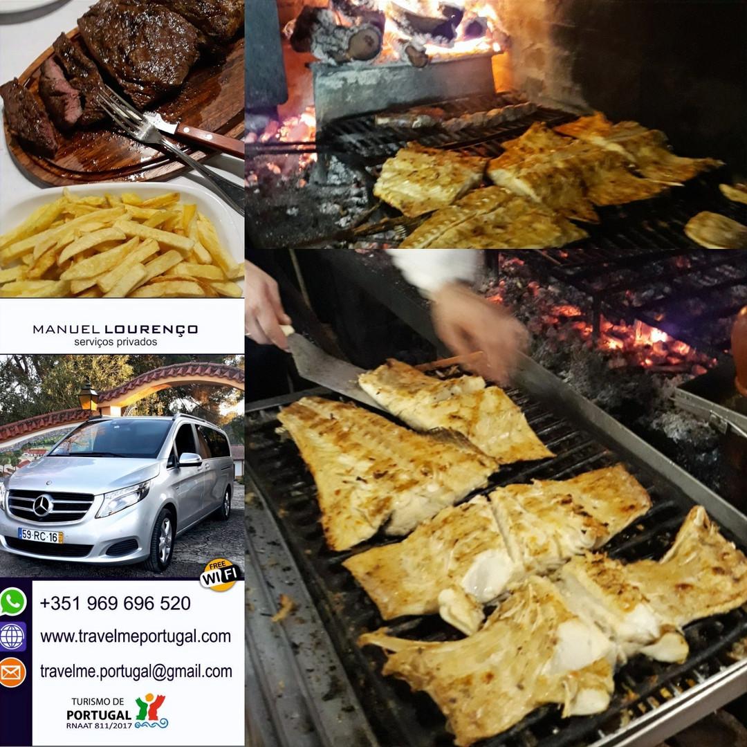 Gastronomia regional Portuguesa. Recolha e entrega dos passageiros no hotel, em Lisboa.