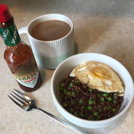 Vegetarian Quinoa and Pea Breakfast Bowl