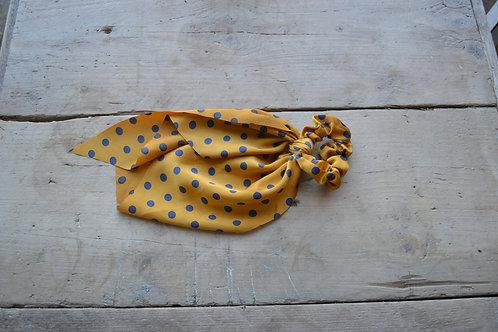 Mustard Polka Dot Satin Hair Scarf Scrunchie