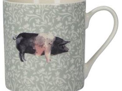 Sage Floral Pig Bone China Mug
