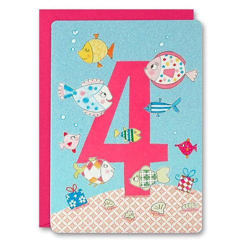 4 Girl Fish Birthday Card
