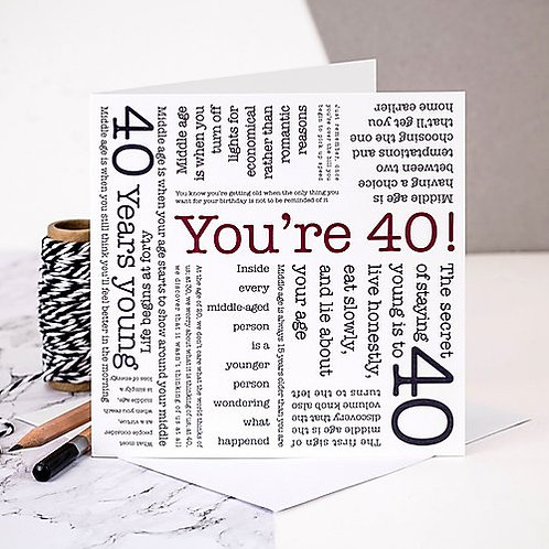 40 'You're 40!' Quotes Card